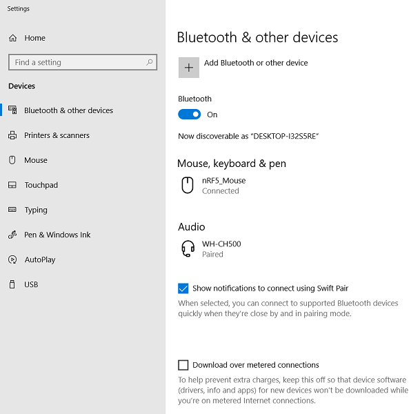 04612f94019 feature_enabled.png. Bluetooth settings with Swift Pair feature enabled.