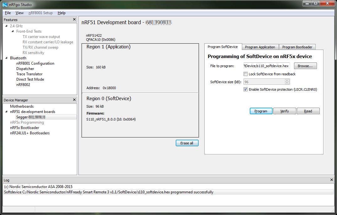 Smart Remote 3: Programming and erasing flash using nRFgo Studio